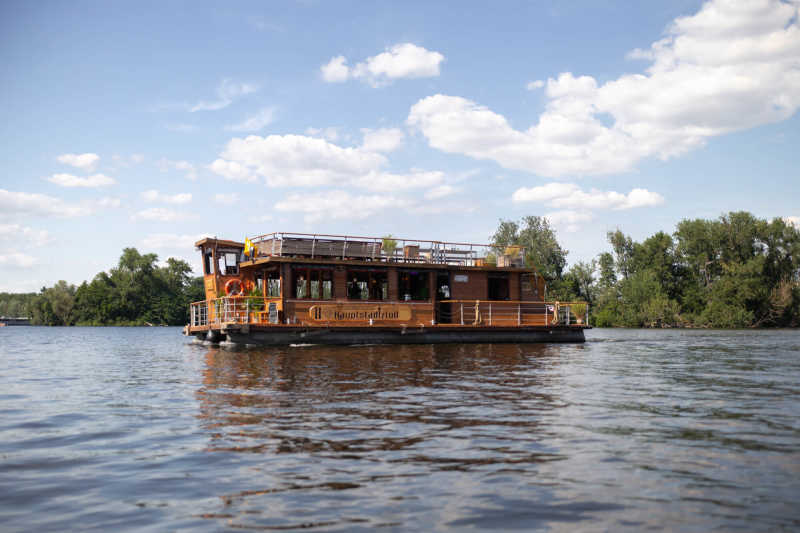 The Berlin Capital Raft from Berlin Boat Rental on a boat tour across the Spree
