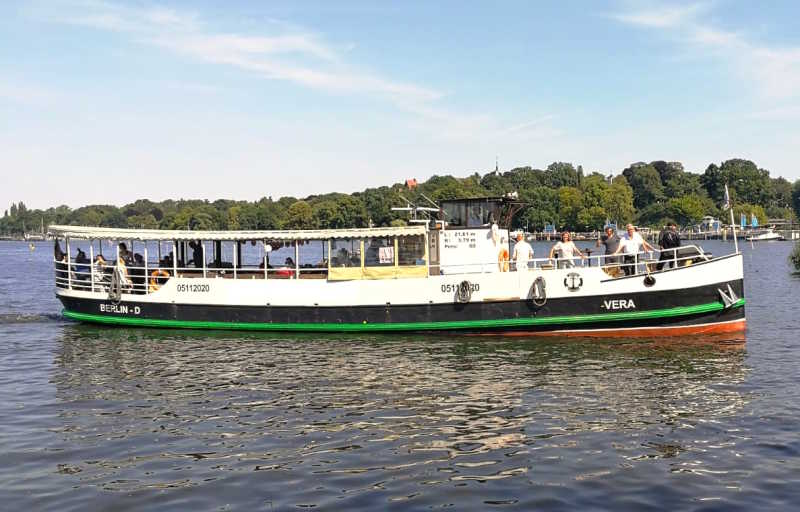 Party ship Vera with a large sundeck on the bow on a boat tour through Berlin