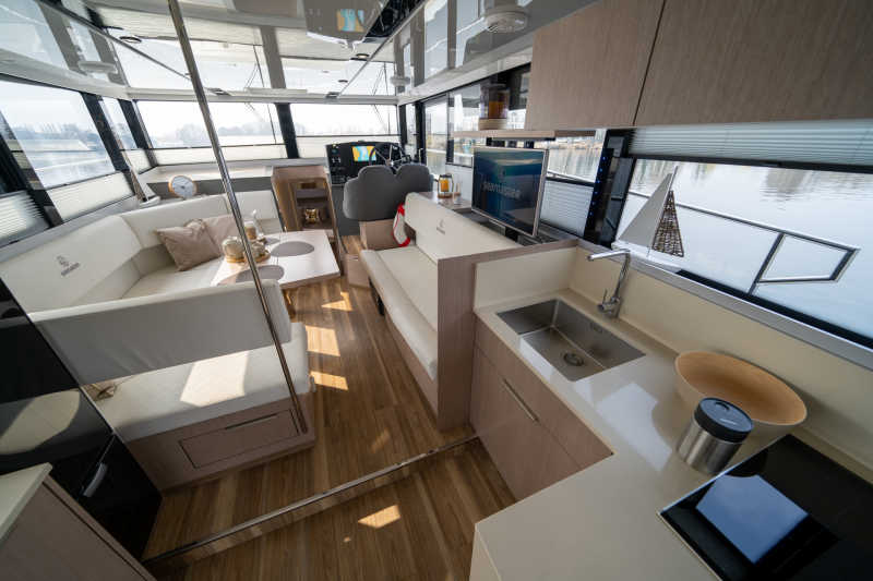 Houseboat with kitchen and living area