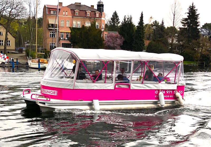 Pink party raft in Berlin on a boat tour