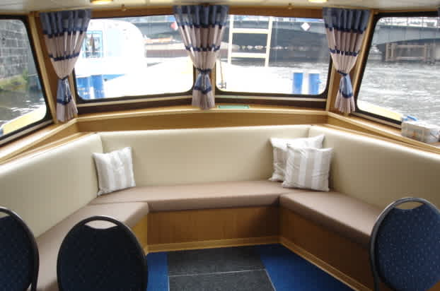 Lounge area in the bow of the Bon Ami ship
