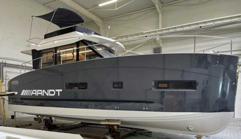 Luxury yacht Arndt in winter storage in the shipyard