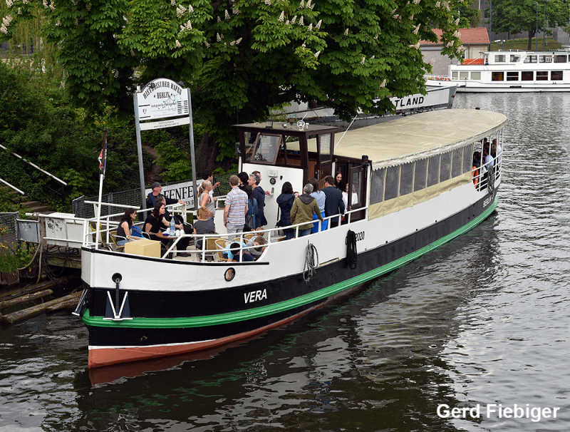 Event ship Vera at the pier of the historic harbor in Berlin Mitte