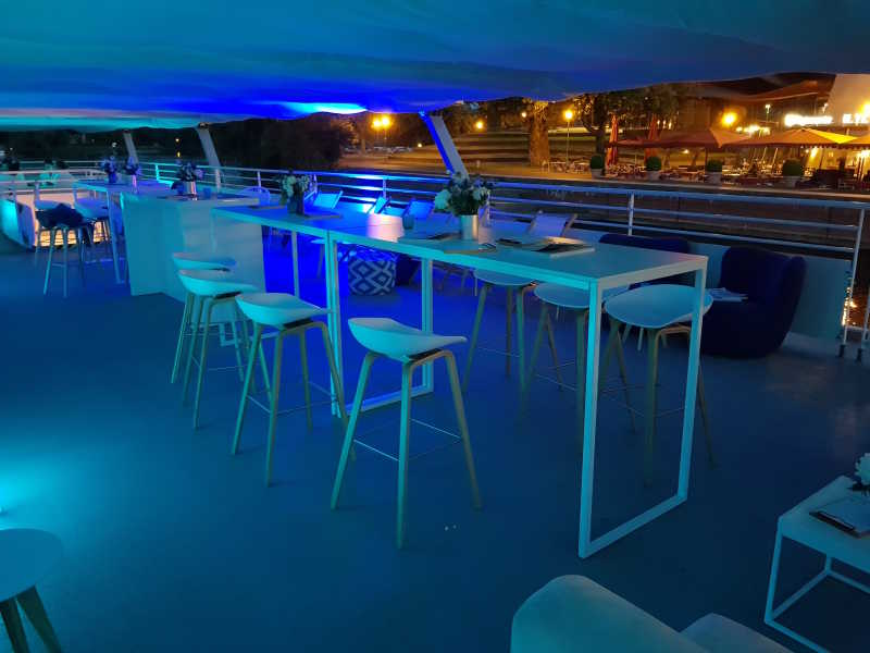 Party location on the roof terrace of the ship with blue light