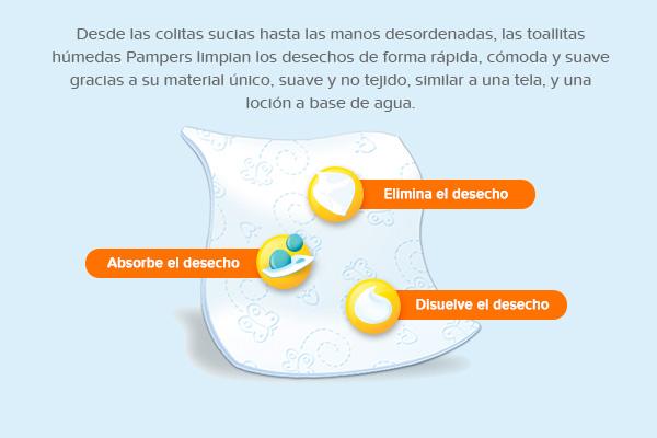 Desde las colitas sucias hasta las manos desordenadas, las toallitas húmedas Pampers limpian los deshechos de forma rápida, cómoda y suave gracias a su material único, suave y no tejido, similar a una tela, y una loción a base de agua.