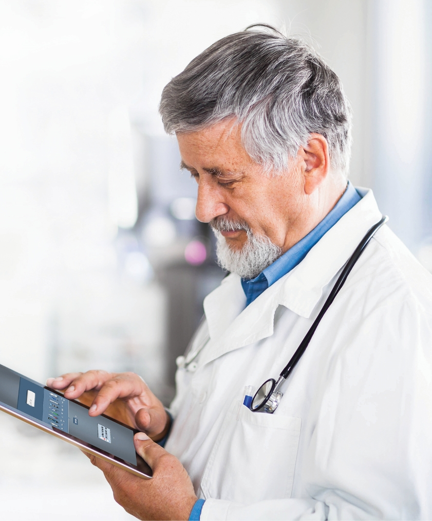 Image of a doctor ordering SYLVANT (siltuximab) on an iPAD.