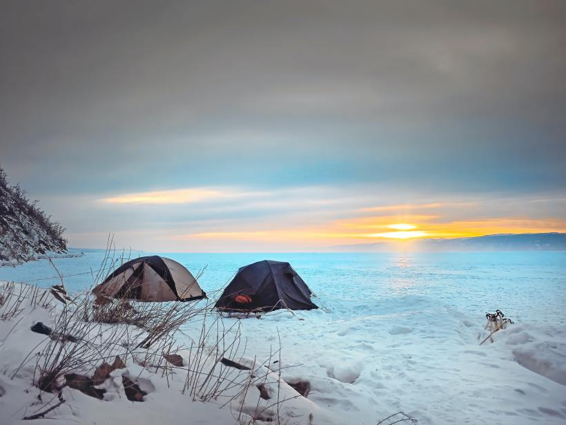 Tents in a snowy area
