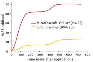 Fig. 5: Effect of elemental S (S⁰) particle size on the rate of oxidation in soil where particles were dispersed throughout the soil (Watkinson and Blair 1993).