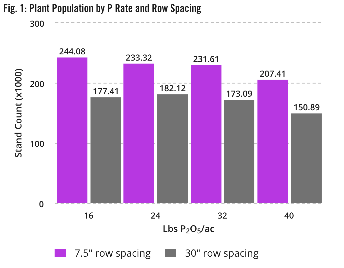 Fig. 1: Plant Population by P Rate and Row Spacing