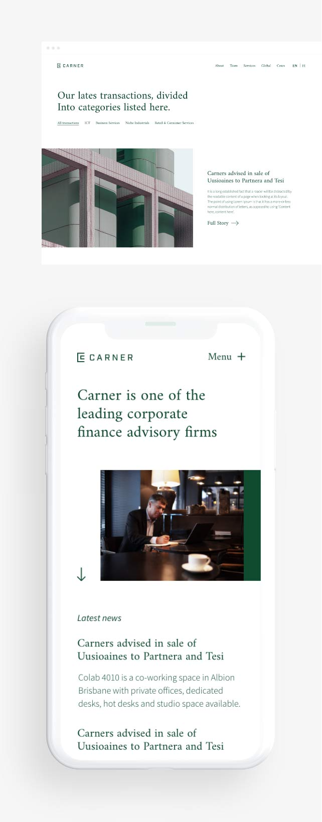 Carner desktop + mobile view
