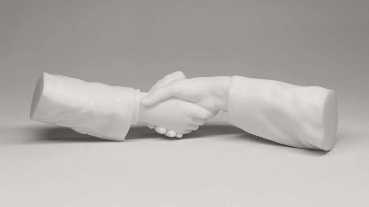 Ai weiwei marble sculpture of hands shaking