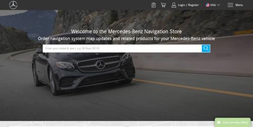 screenshot of mb.navigation.com the Mercedes navigation update home page