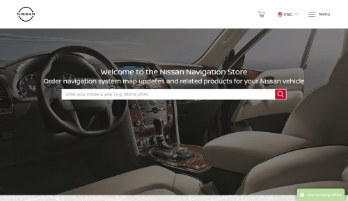 screenshot of nissan.navigation.com home page.