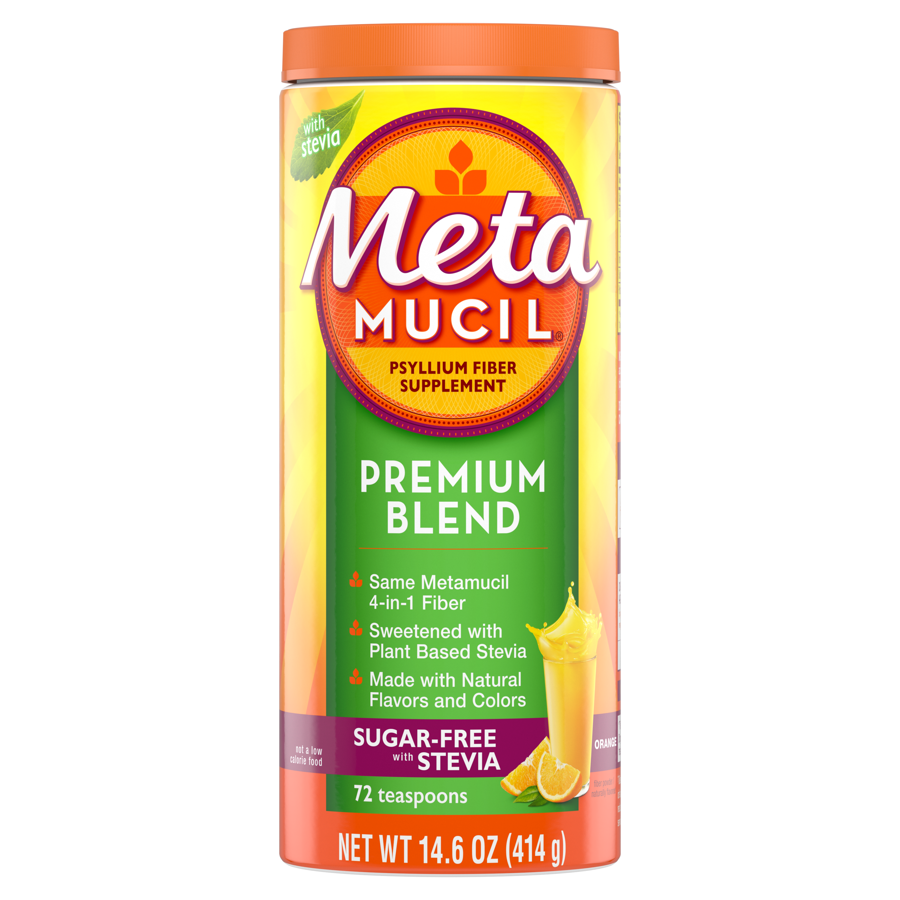 METAMUCIL PREMIUM BLEND ORANGE SUGAR FREE POWDER - 72