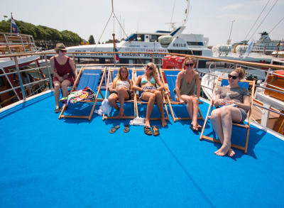 Guests Sunbathing on deck