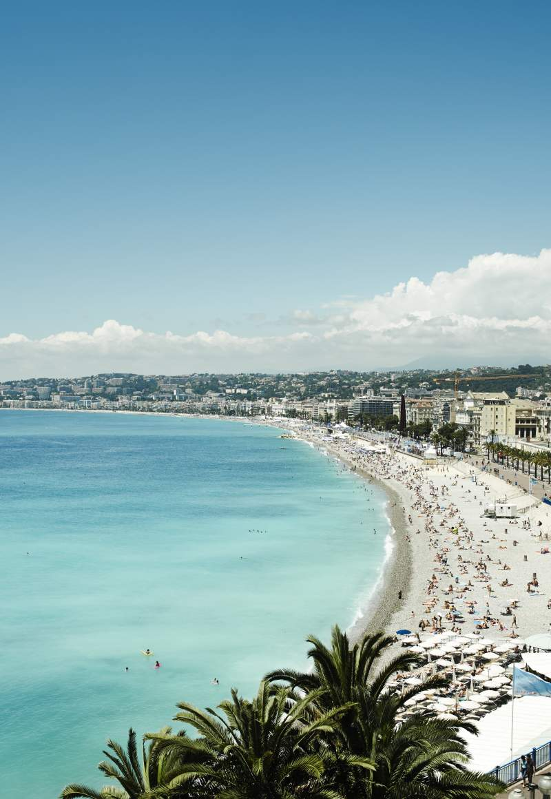 View of the sandy beaches of Nice