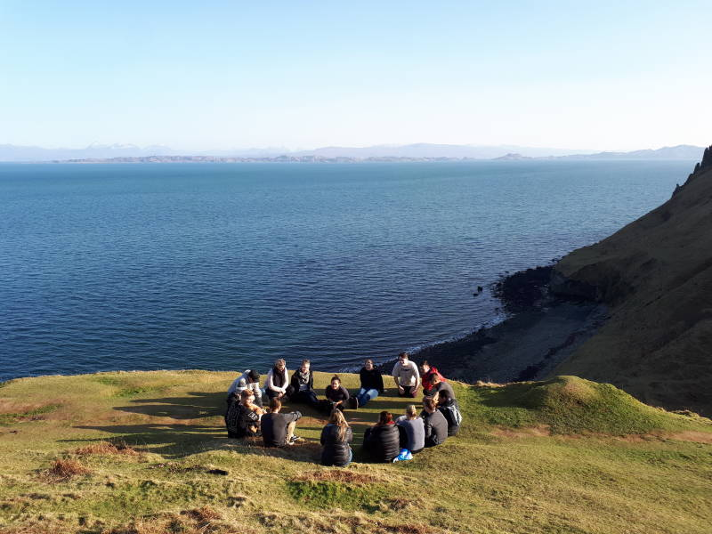 Group of travellers in Isle of Skye, Scotland