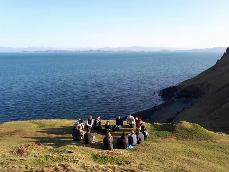 Group of travellers in Isle of Skye, Scotland