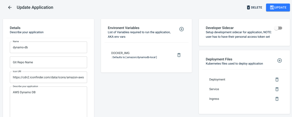<i>The application template view</i>