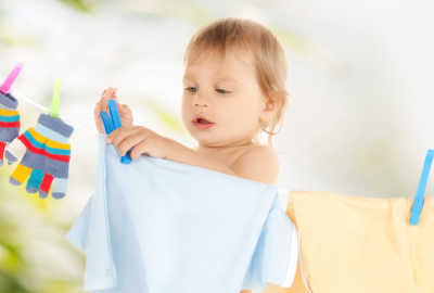 Toddler Hanging Laundry