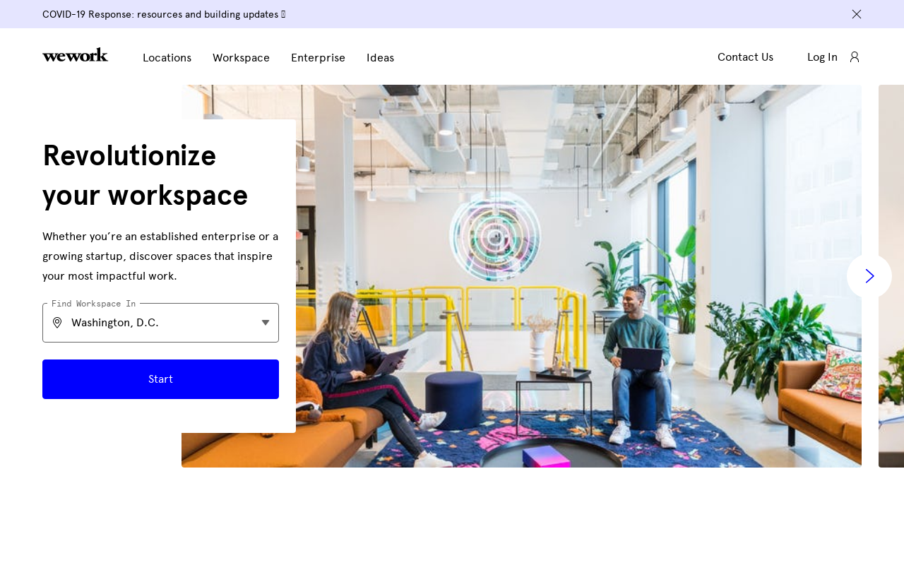 Product screenshot of WeWork