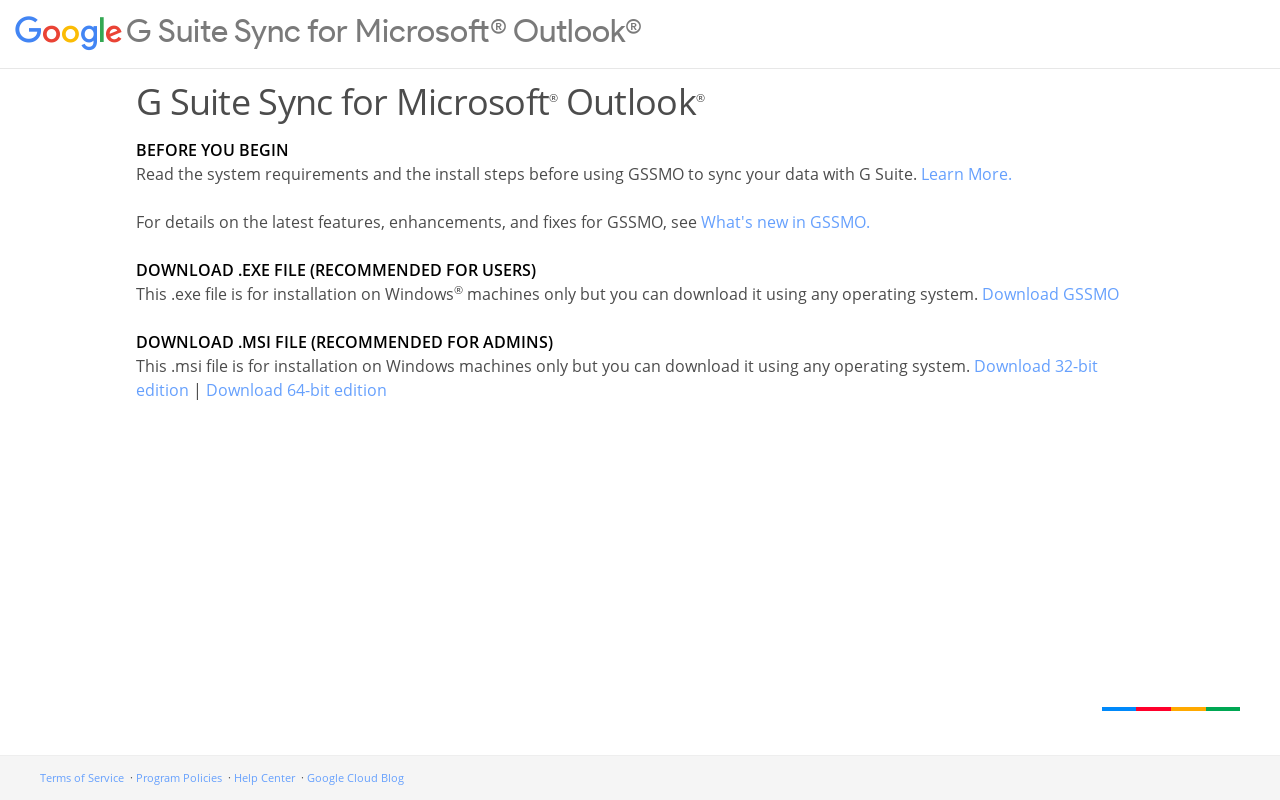 Product screenshot of G Suite Sync for Microsoft Outlook