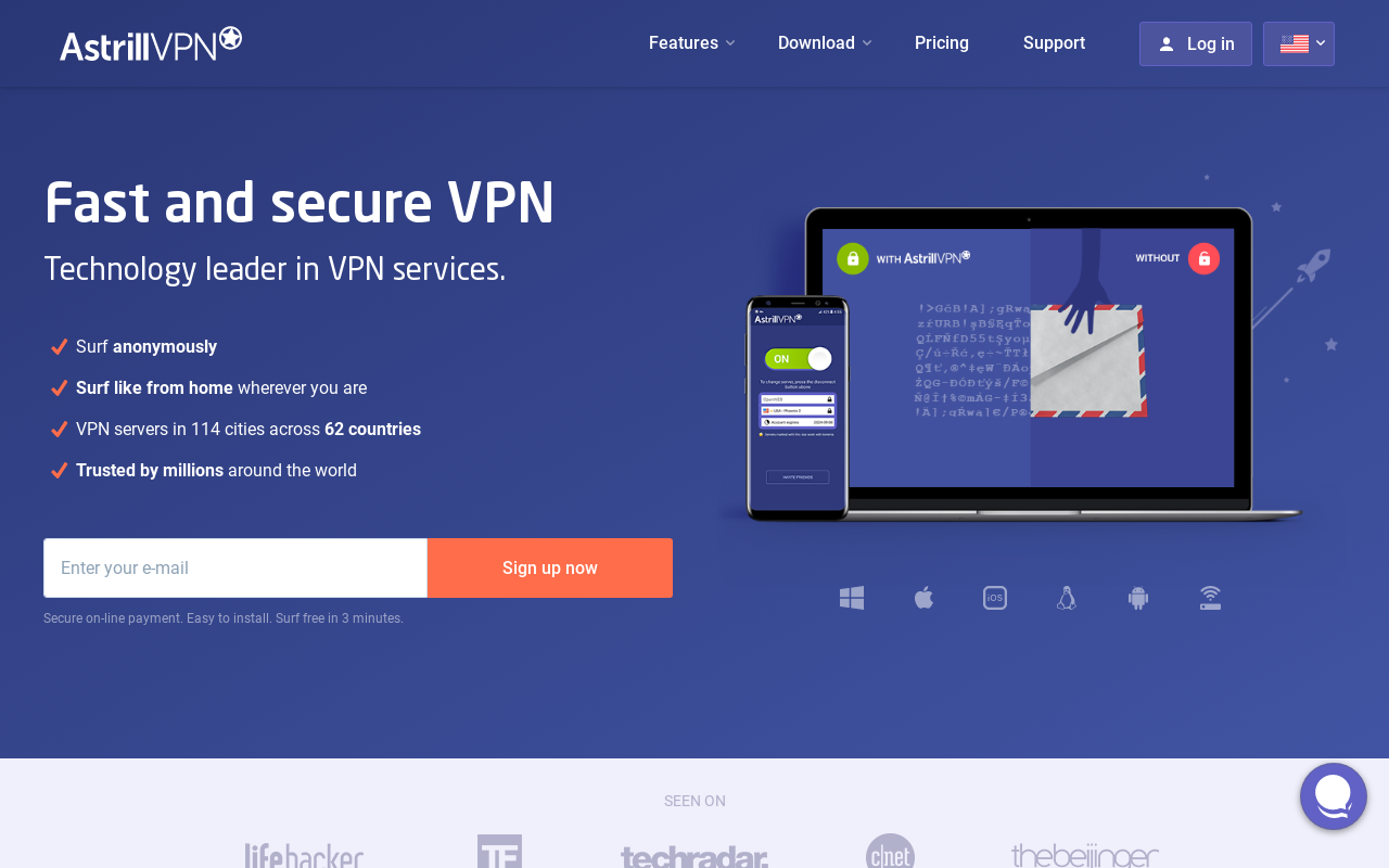 Product screenshot of Astrill VPN