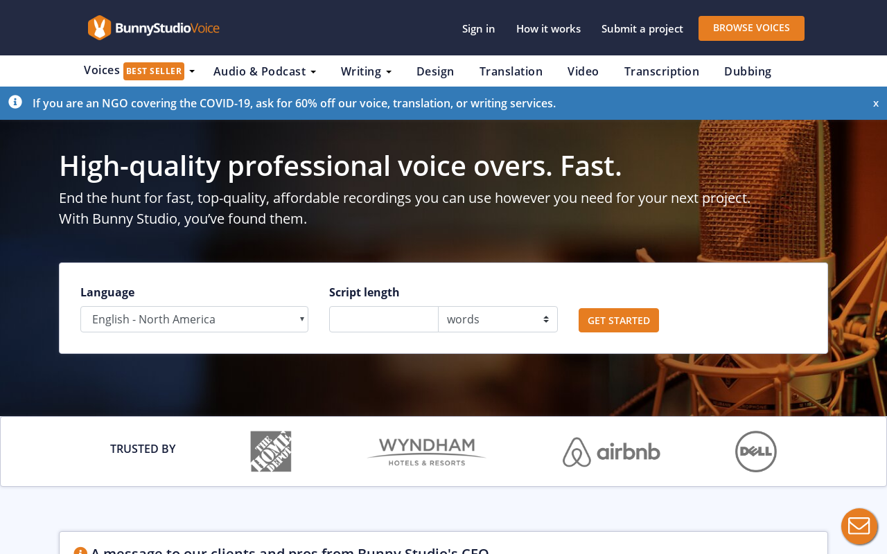 Product screenshot of VoiceBunny