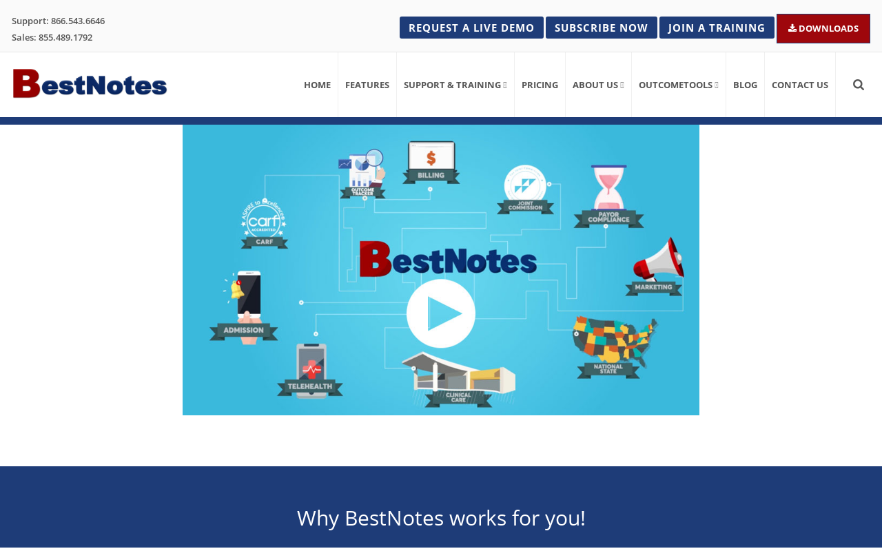 Product screenshot of BestNotes