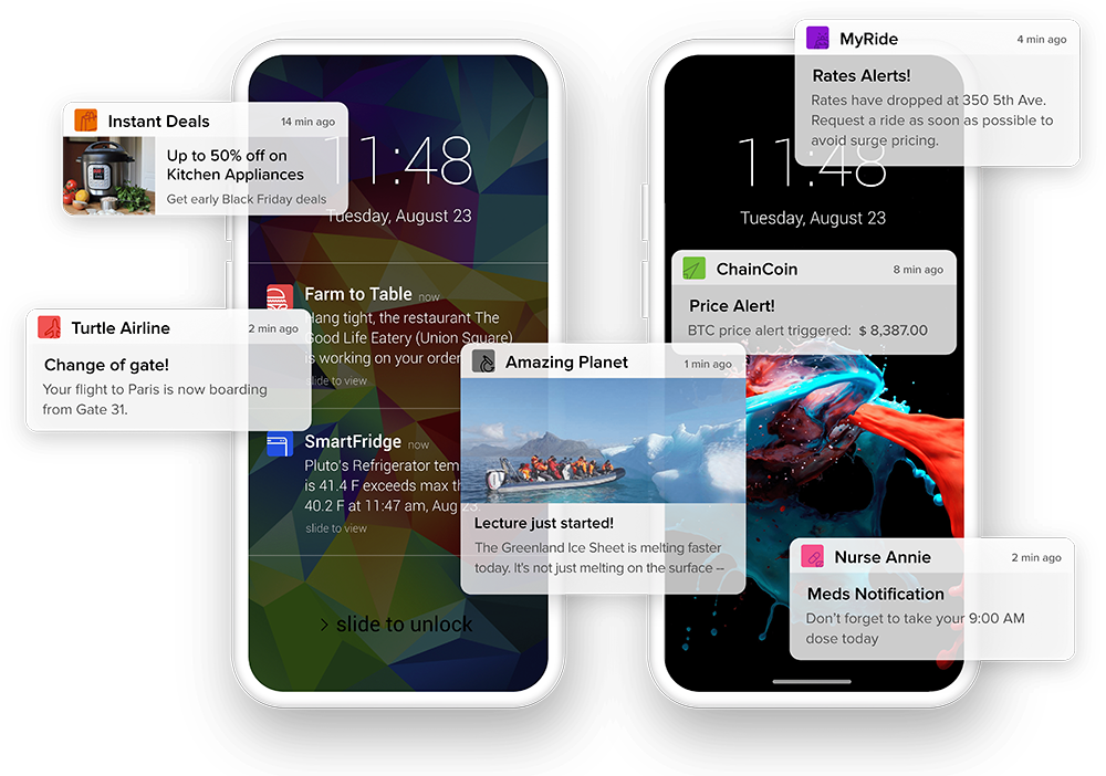 Realtime in-app alerts and mobile push notifications