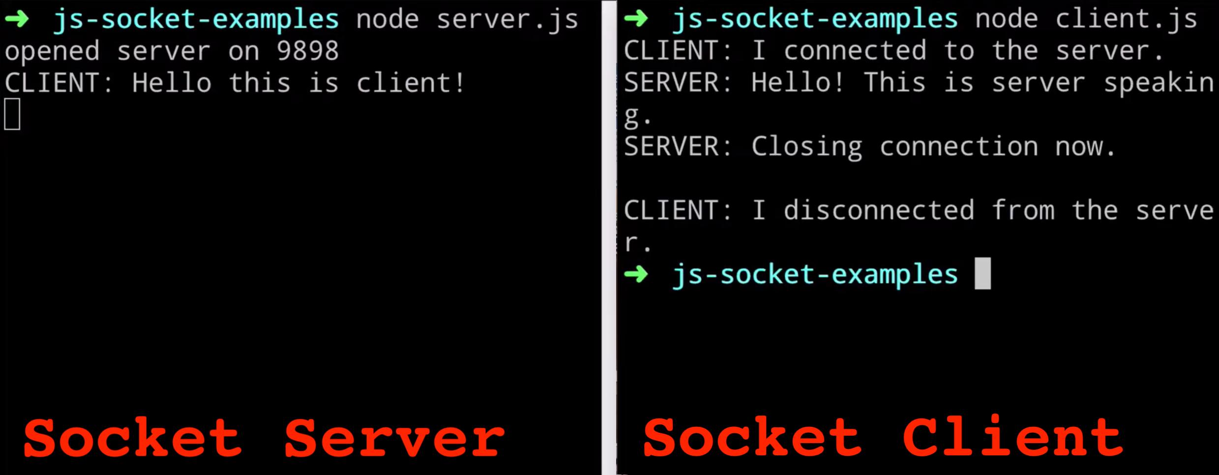Interazione tra server Node.js Socket e client sulla linea di comando