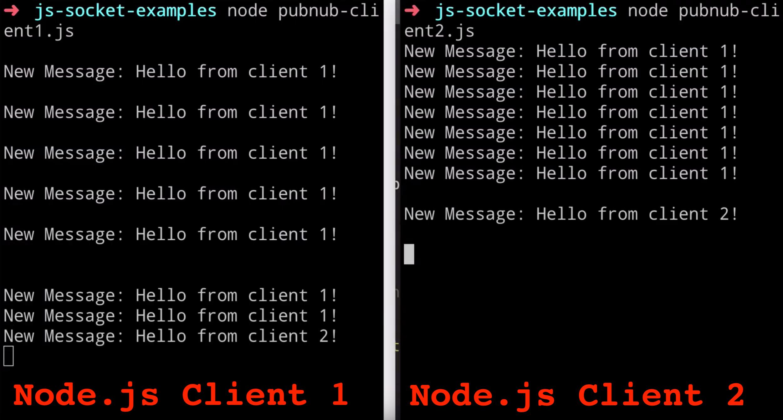 PubNub Node.js Pub/Sub API Example Screenshot