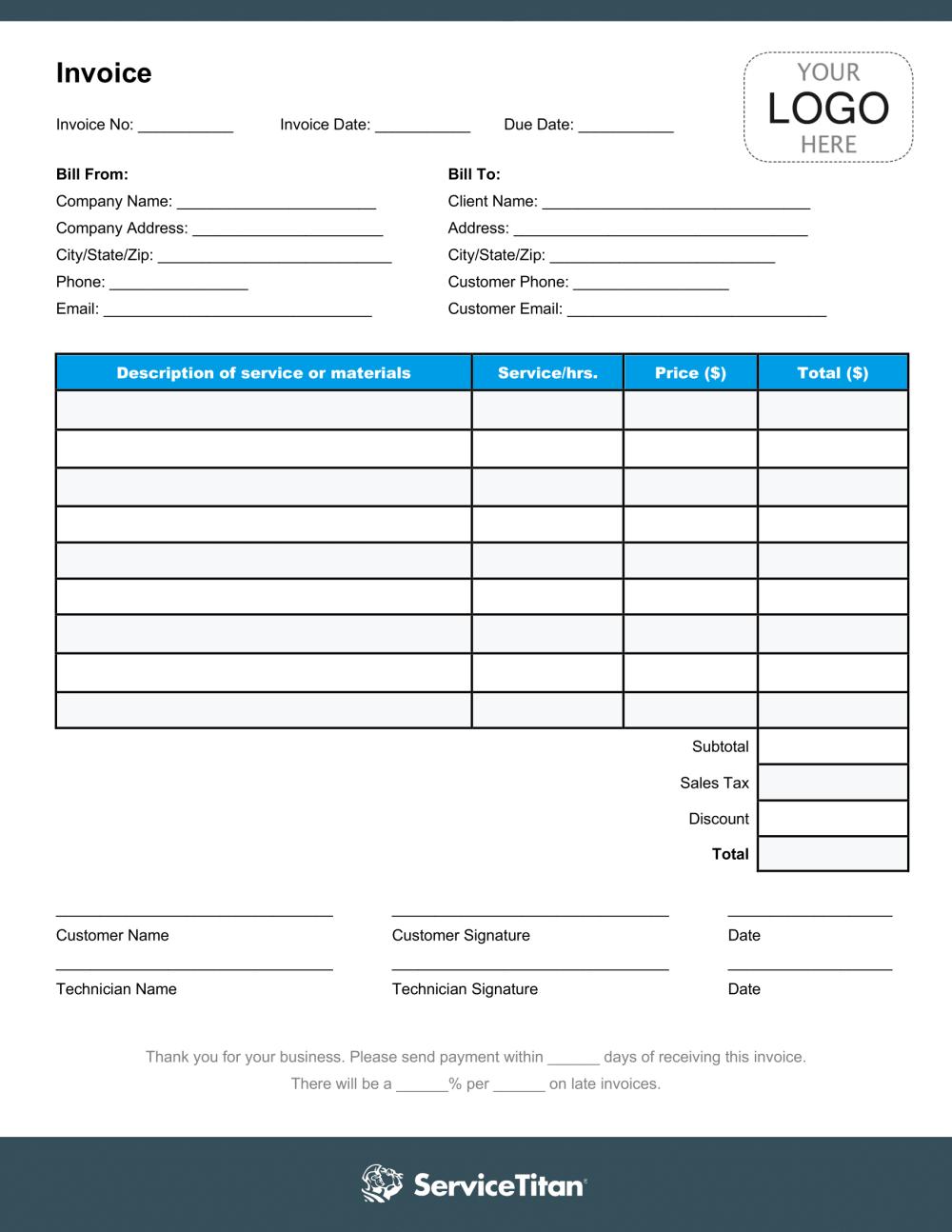 Free Hvac Invoice Template Pdf Plus Industry Best Practices