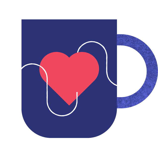 A coffee mug with a heart and a graph