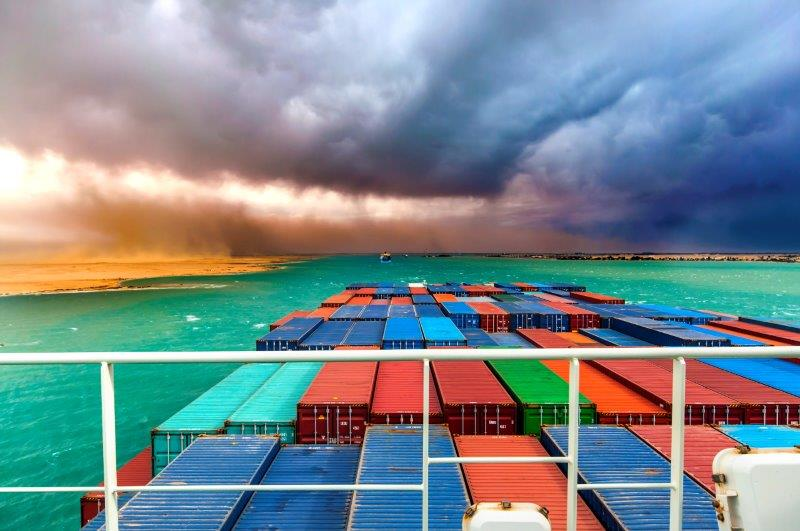ship in suez canal during a storm