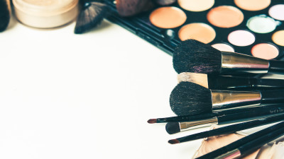 Makeup brushes with eyeshadow and makeup