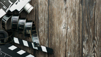 film reel on a wooden table