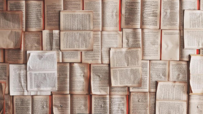 a wall of writing and books