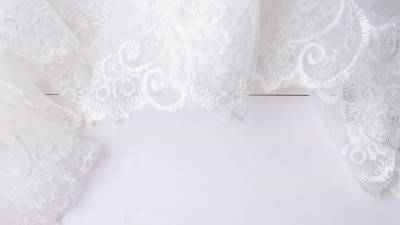 White lace on white floor