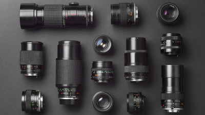 A group of various camera lenses