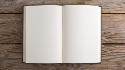 Blank notebook on wood