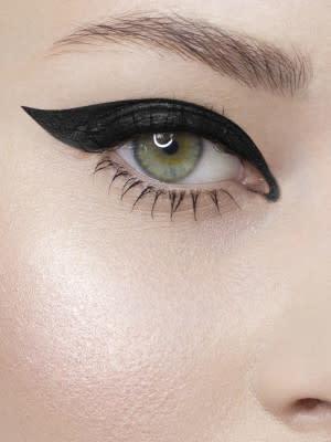 Winged eyeliner on model