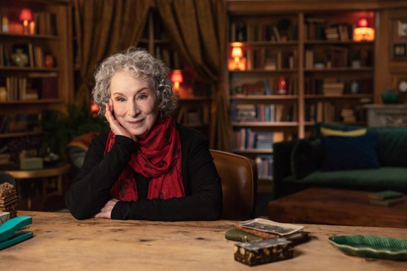 Margaret Atwood at desk