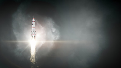 Rocket ship in space with smoke