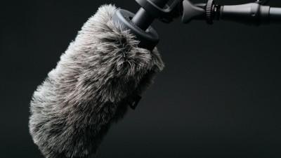 boom microphone on black background