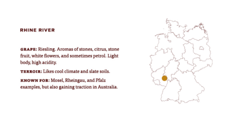 a map of germany where they grow riesling wine near the rhine river
