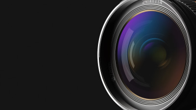 Camera lens unclose with colored reflection