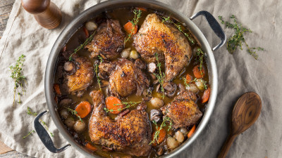 French Coq au Vin in Pot