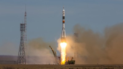 Soyuz spacecraft launching into air