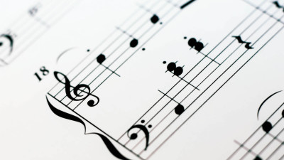 Sheet of music in black and white